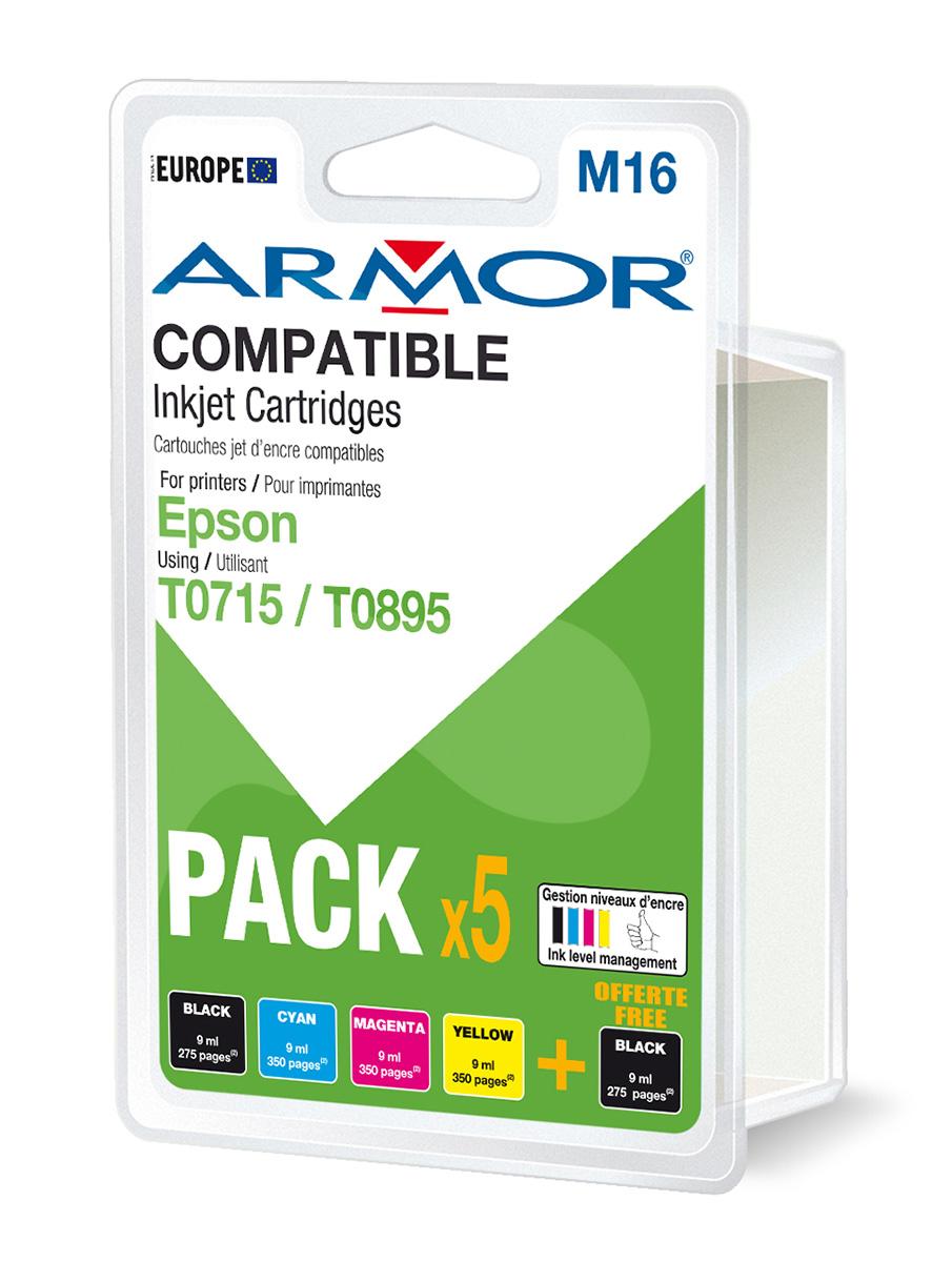 Armor Blekkpatron Pakke, erstatter Epson T0715 2xSort/3xFarge (5x9ml) B10099R1 (Kan sendes i brev)