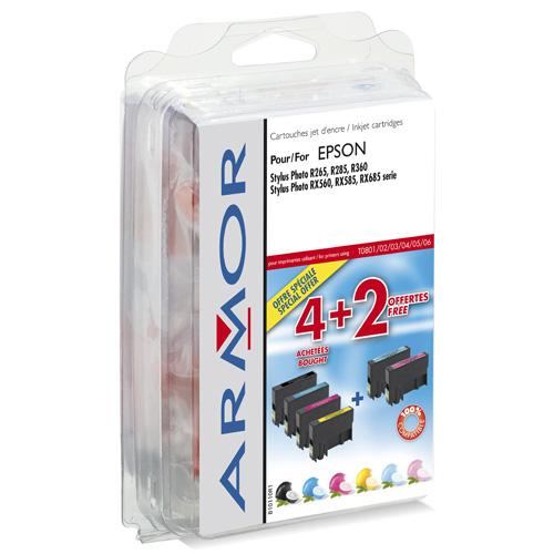 Armor Blekkpatron Pakke T0807 Sort/5xFarge, erstatter Epson C13T08074010 B10110R1 (Kan sendes i brev)