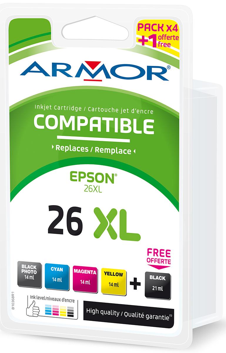Armor Blekkpatron Pakke 26XL 2xSort/3xFarge (21ml/4x14ml) B10368R1 (Kan sendes i brev)
