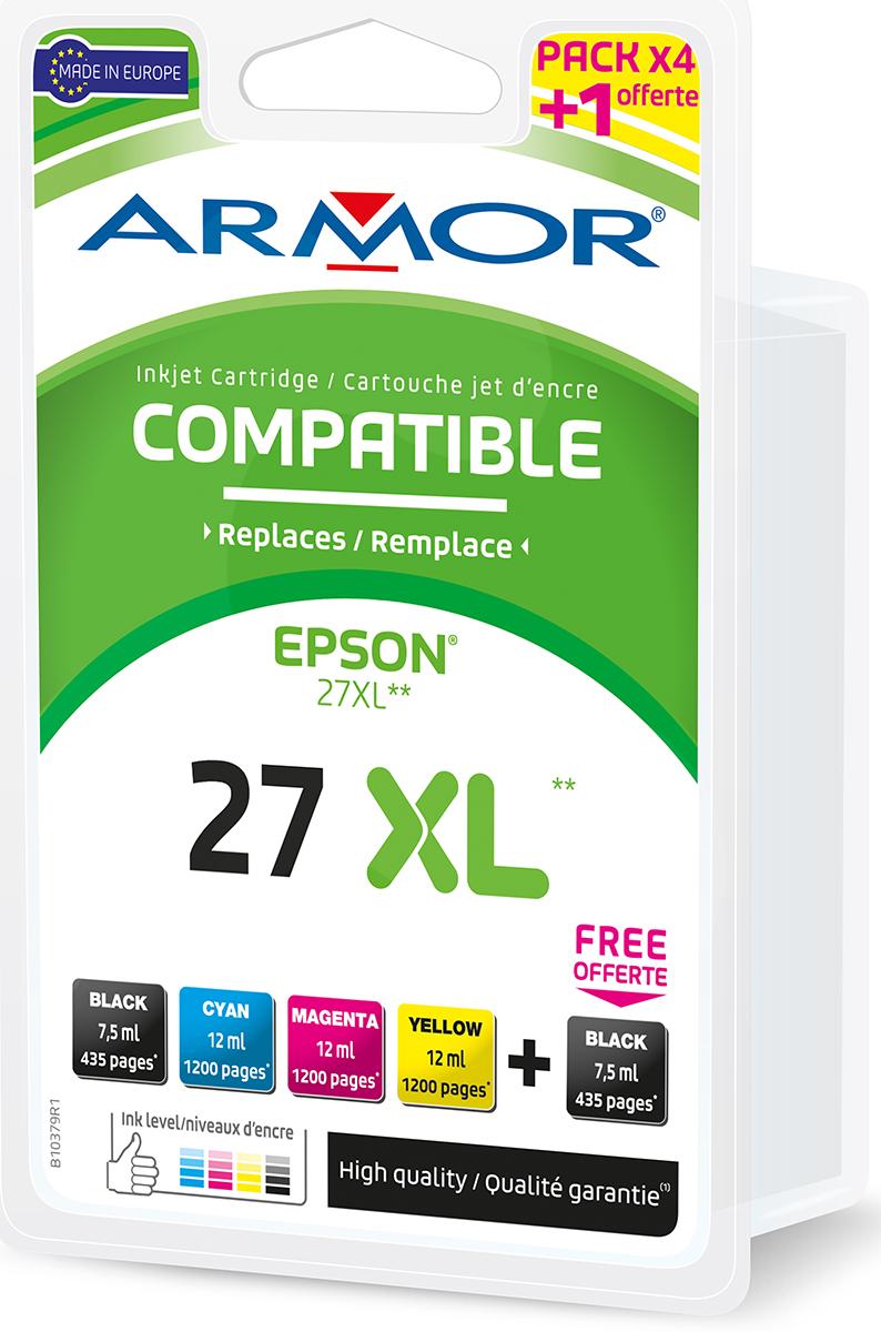 Armor Blekkpatron Pakke 27XL 2xSort/3xFarge (2x7.5ml/3x12ml) B10379R1 (Kan sendes i brev)