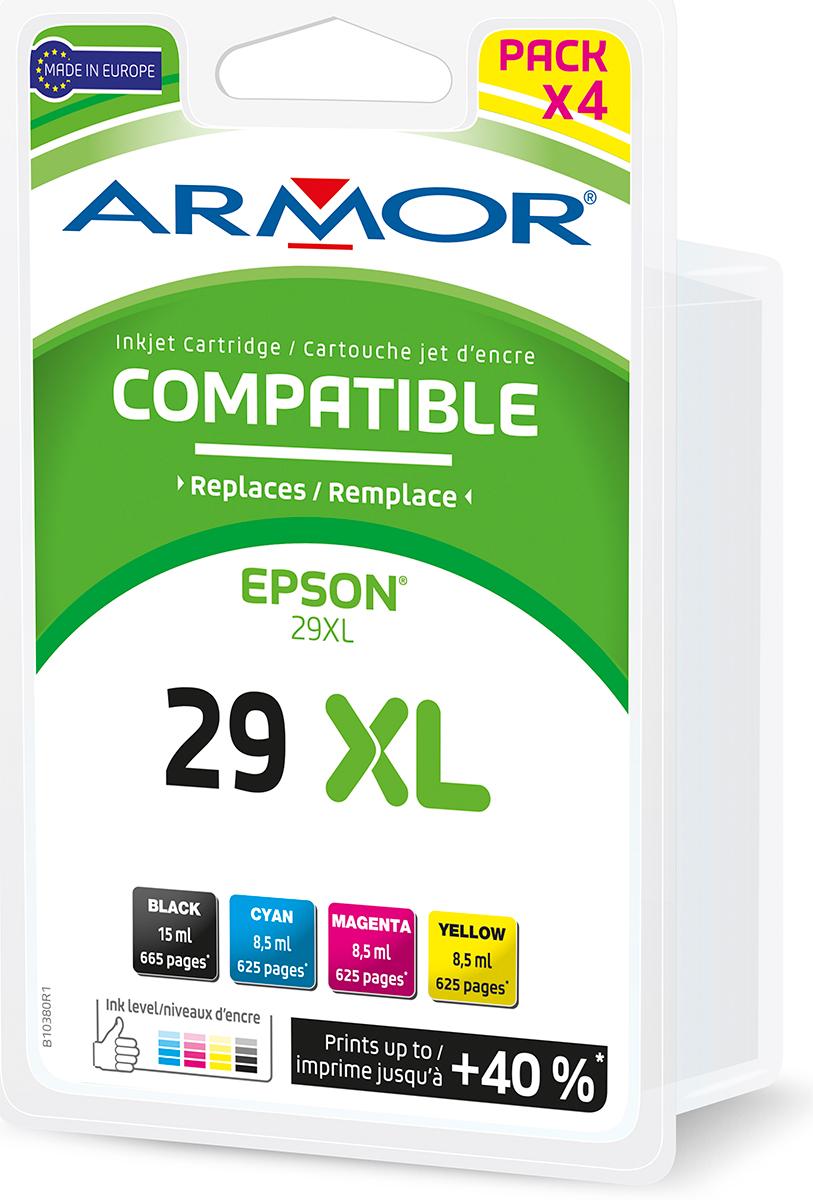 Armor Blekkpatron Pakke T2996/29XL Sort/3xFarge (15ml/3x8.5ml) B10380R1 (Kan sendes i brev)