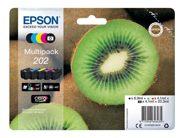 Epson Blekkpatron Pakke No.202 2xSort/3xFarge (6.9ml/4x4.1ml) C13T02E74010 (Kan sendes i brev)