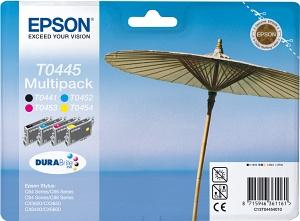 Epson Blekkpatron Pakke T0445 Sort & 3xfarge (13ml 3x8ml) C13T04454010 (Kan sendes i brev)