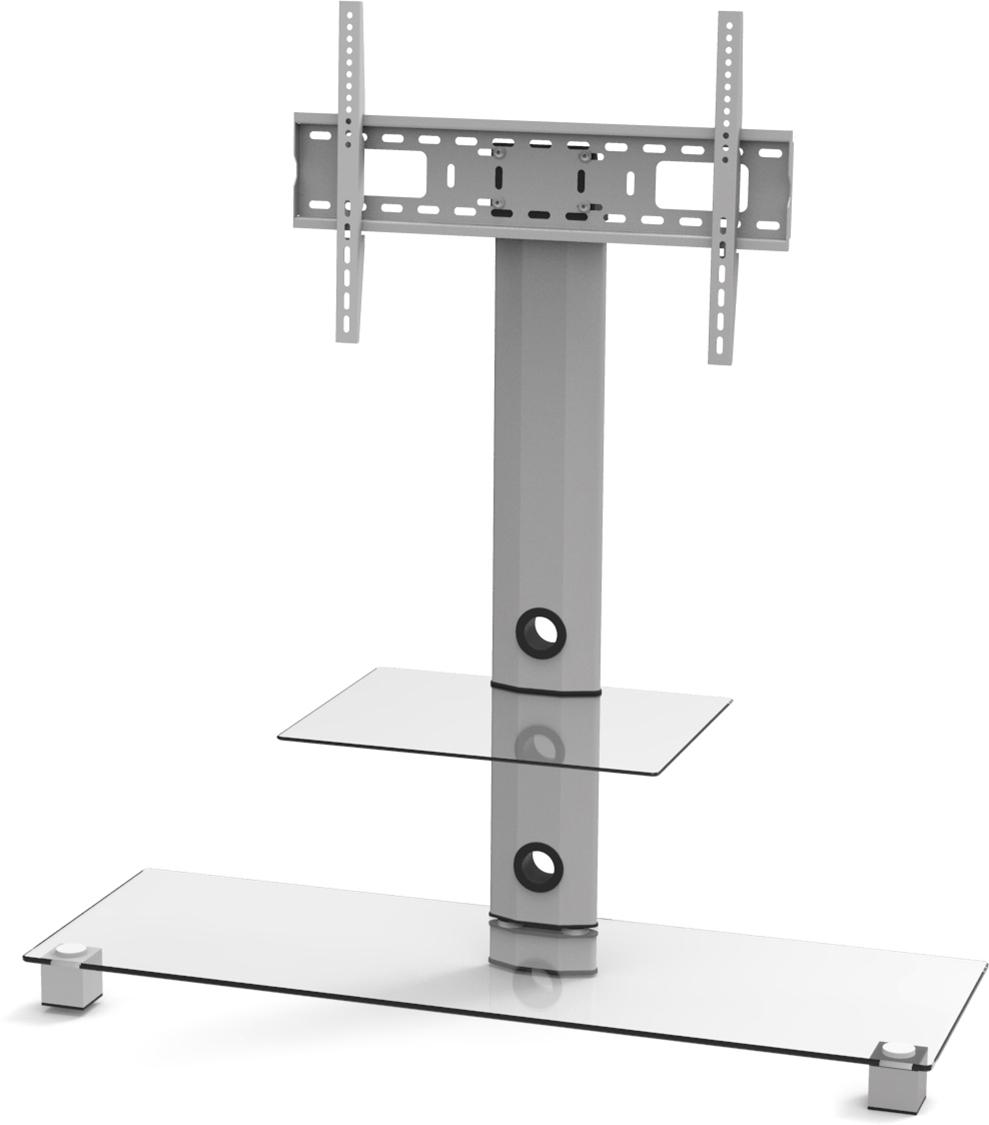 Epzi TV-benk, glas/aluminium, max 50kg, silver ARM-801A