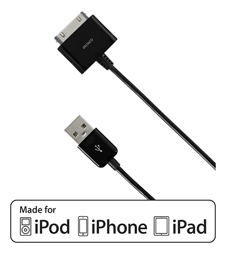DELTACO USB-synk/laderkabel til iPod, iPhone eller iPad,1m,svart IPNE-505 (Kan sendes i brev)