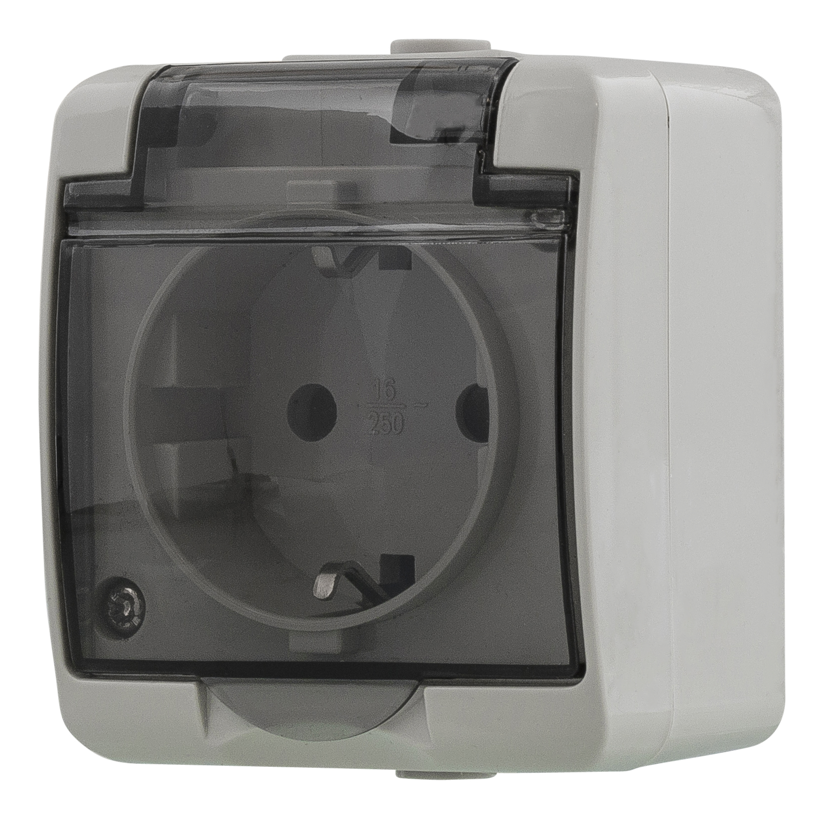 Epzi 1-way outlet with hinged lid for surface mounting, IP54, gray H2-C51GM (Kan sendes i brev)