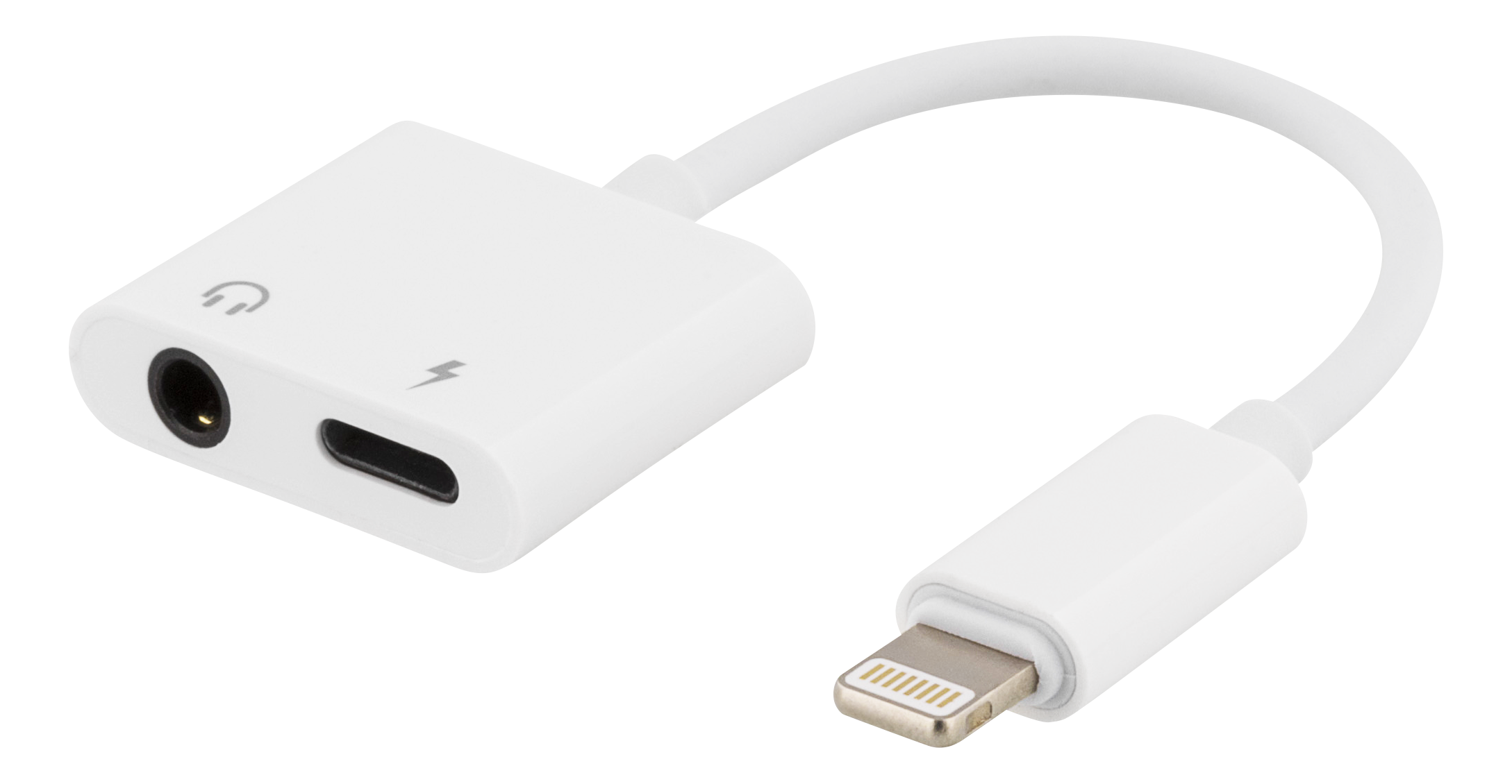 Epzi Lightning to 3,5 mm adapter, support charge and music, white IPLH-586