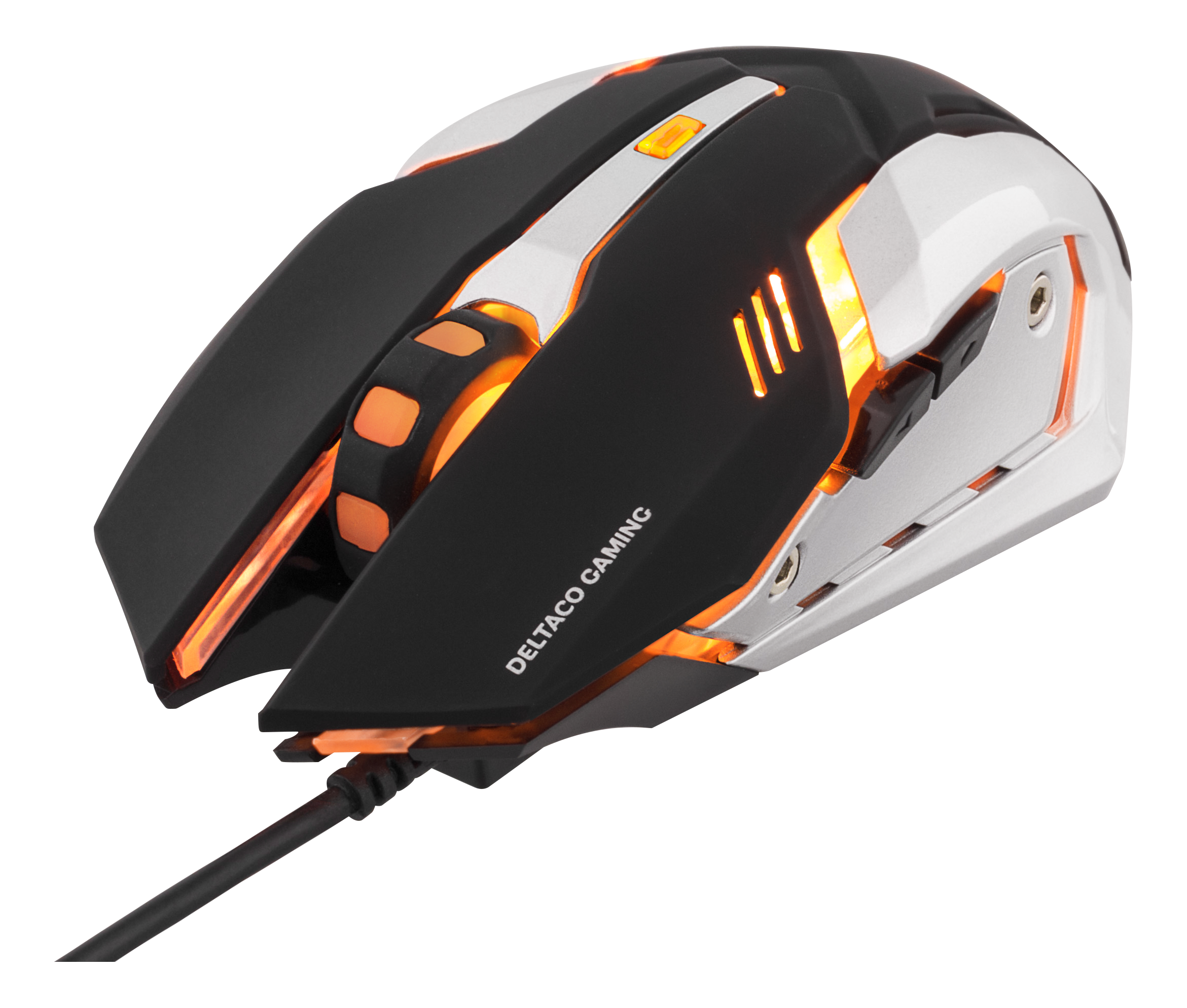 DELTACO GAMING optical mouse, orange LEDs, black/silver XL-GM46