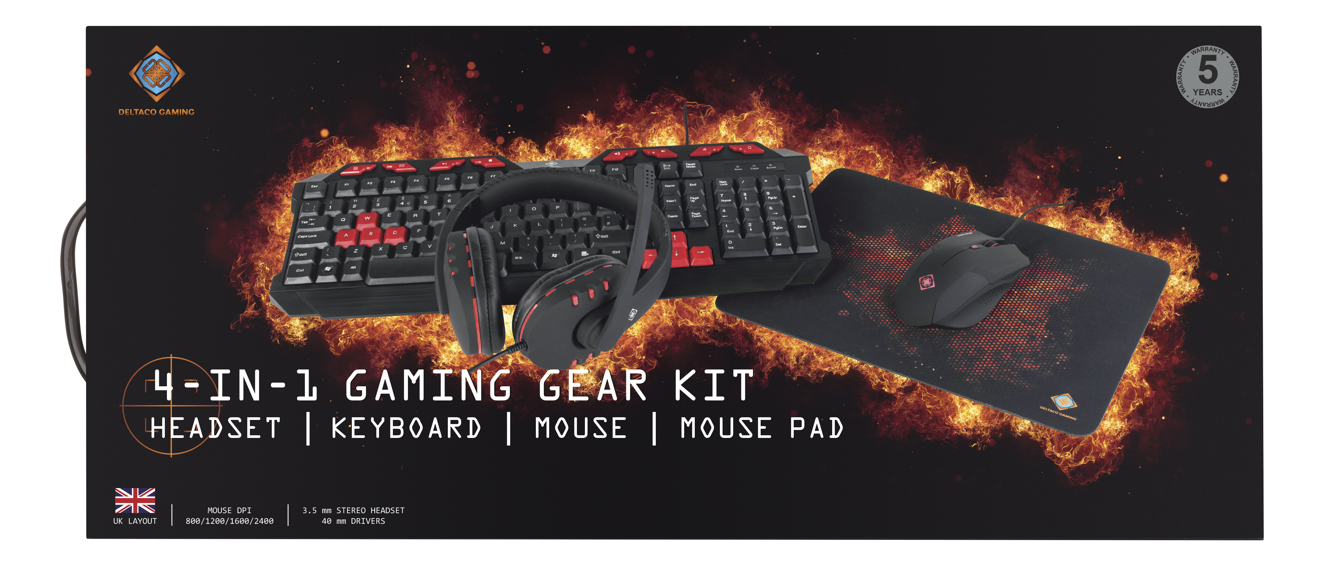 DELTACO Tastatur, nordisk layout, USB, 1,1m kabel, svart