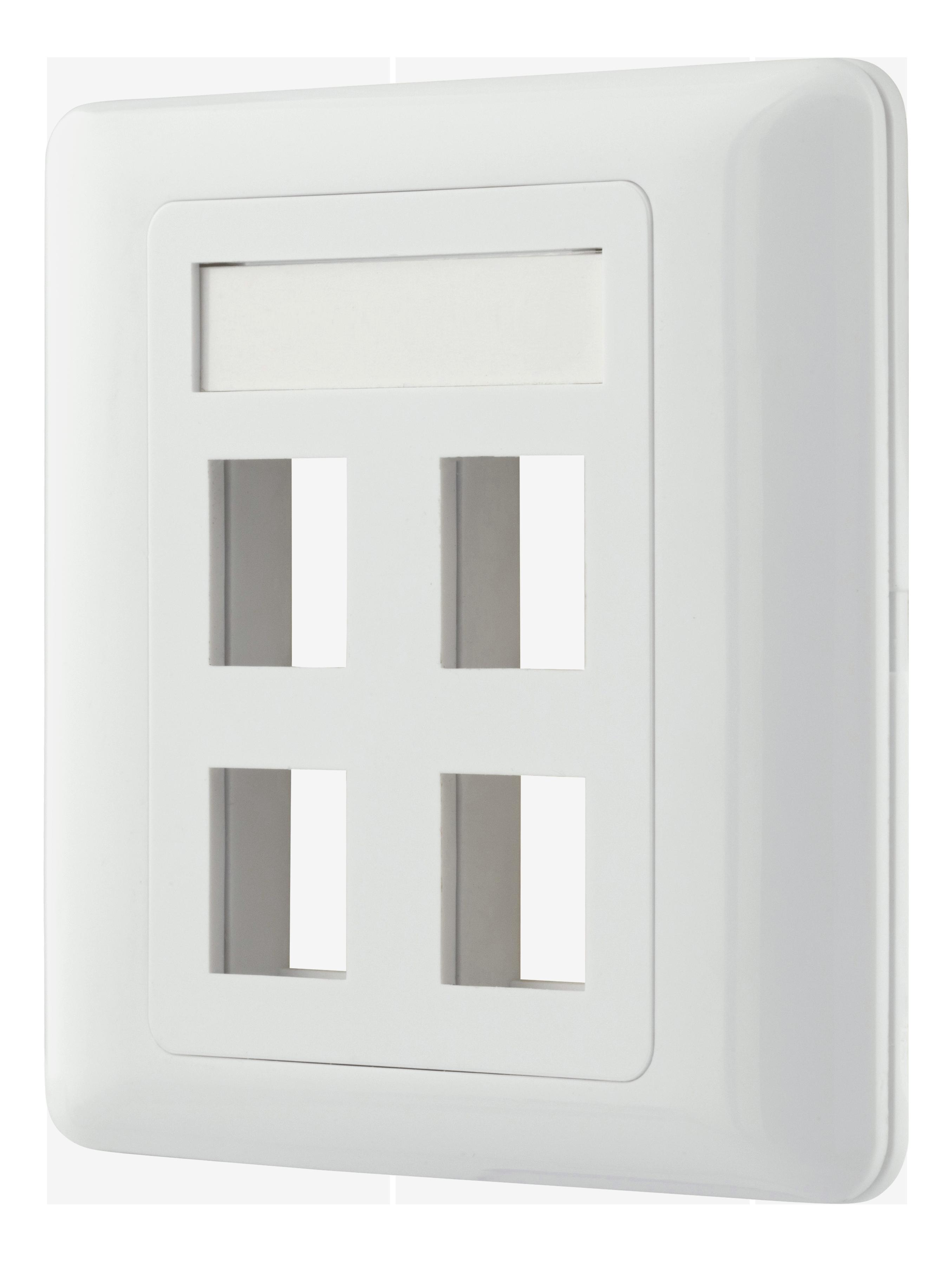 Deltaco flush mount for Keystone, 4 ports, white VR-228