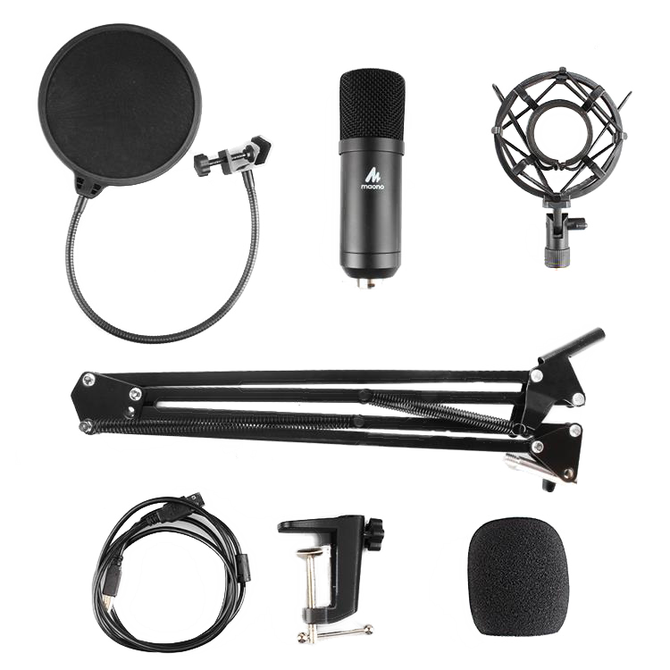 MAONO USB Podcasting Microphone kit, 16mm microphone, arm