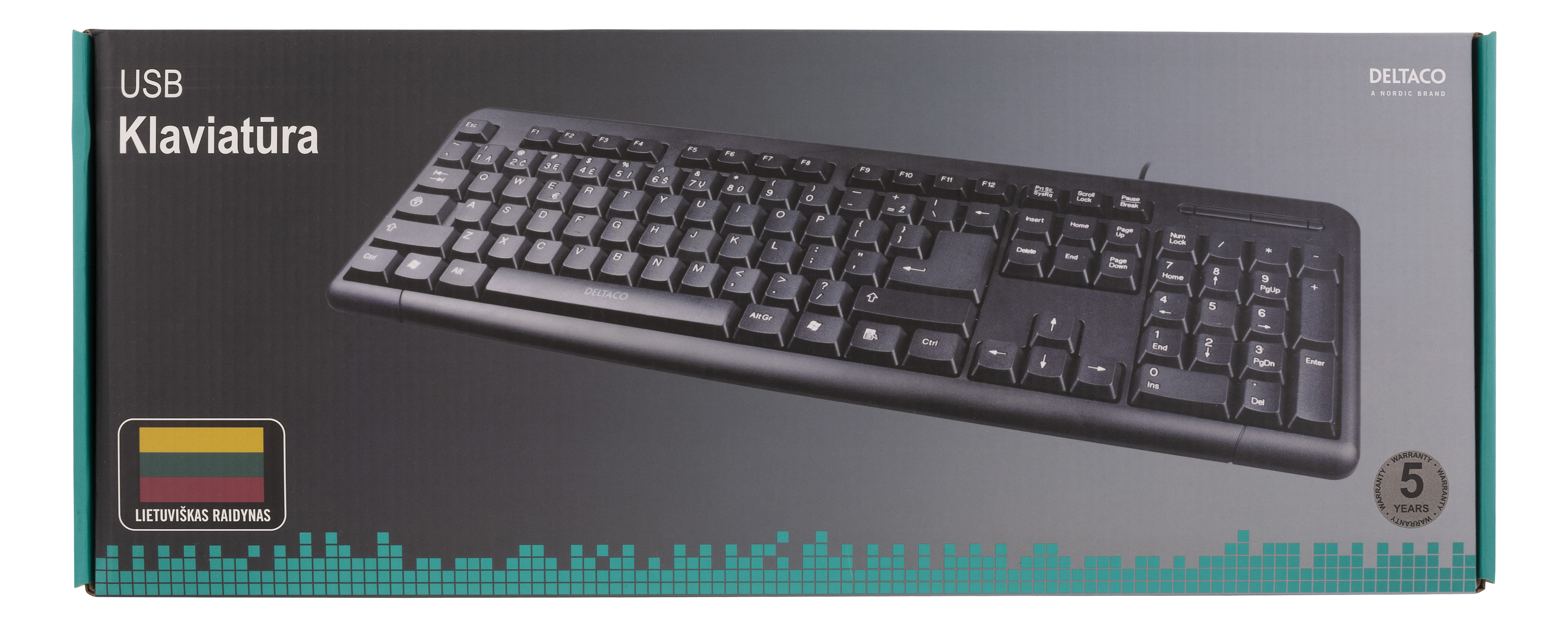 TB 58 LT Deltaco keyboard, 104 keys, Lithuanian layout, USB