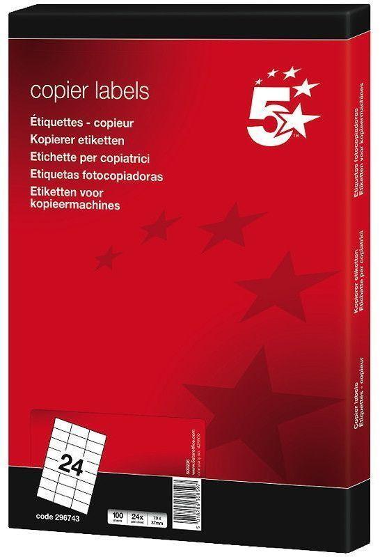 5 Star Etikett 70x37mm hvit (2400 stk) 296743