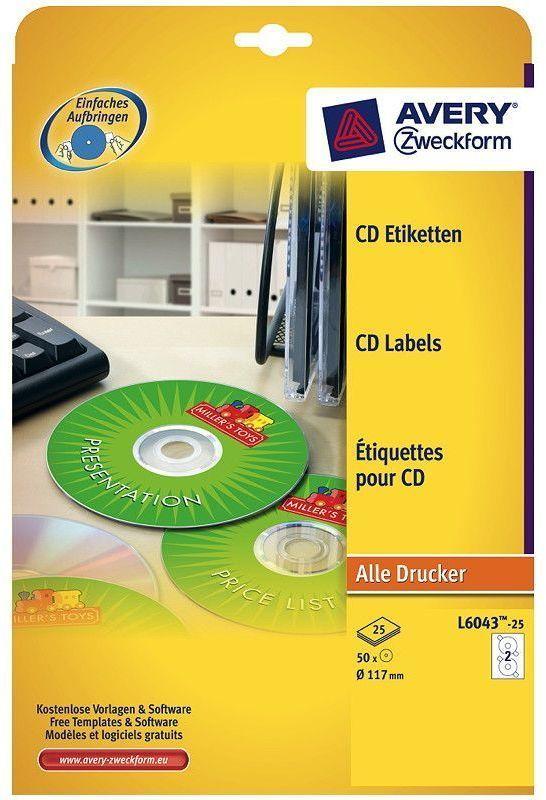 Avery CD-Etikett 6043 117mm hvit (50 stk) 845476 (Kan sendes i brev)