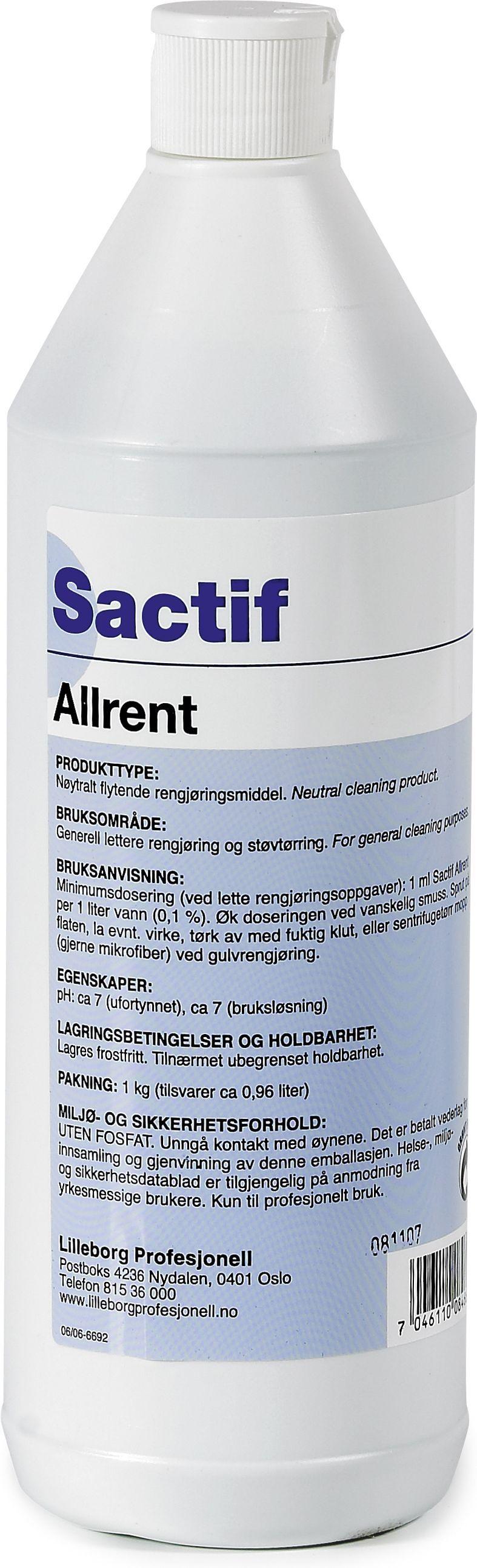 Sactif Rengjøring Allrent 1L Y444392