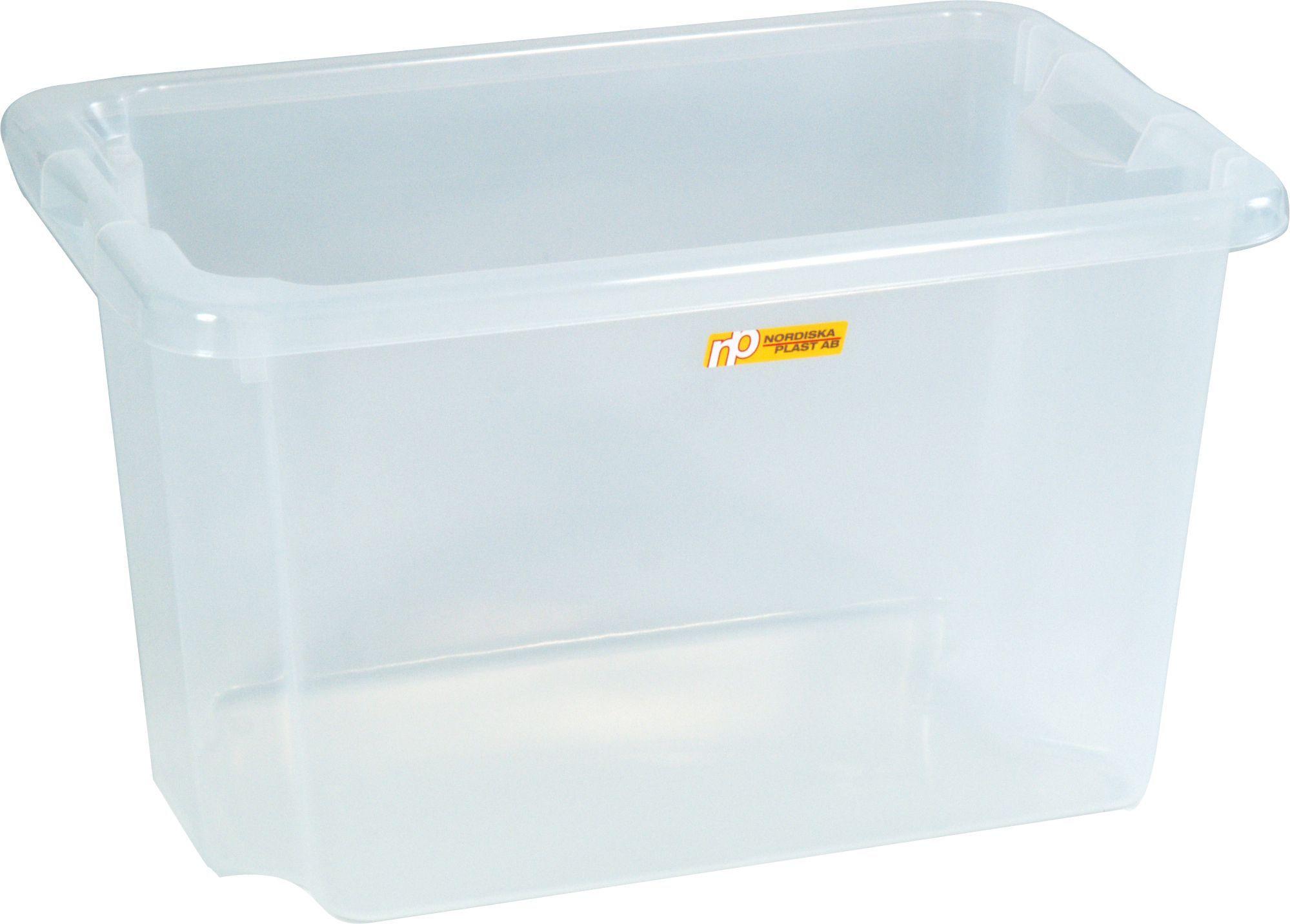 Oppbevaringsboks 55L transparent plast 75500500