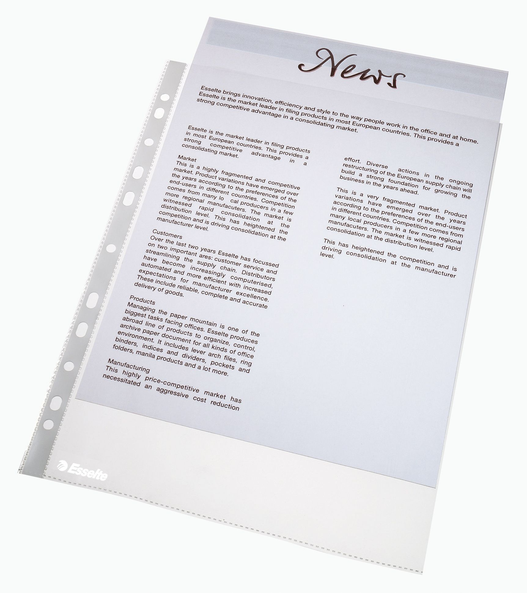 Esselte Plastlomme Toppåpning A4 38my (10) 56094 (Kan sendes i brev)