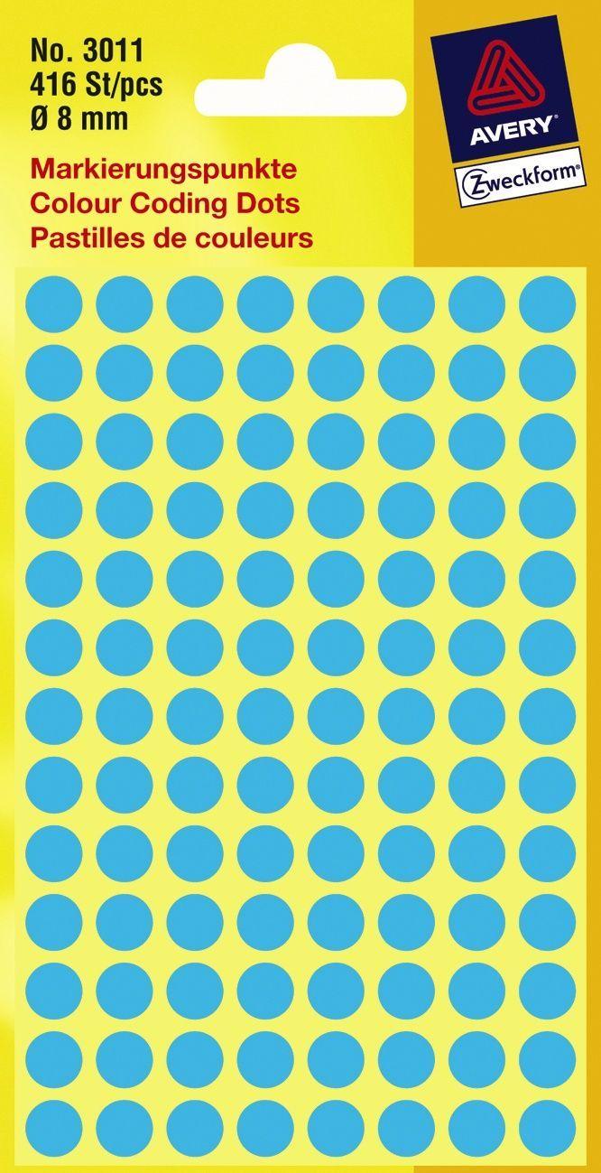 Avery Etikett manuell ø8mm blå (416) Y449263 (Kan sendes i brev)