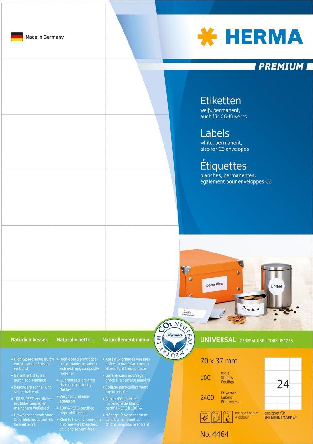 Herma Etikett premium A4 70x37mm (2400) Y450061