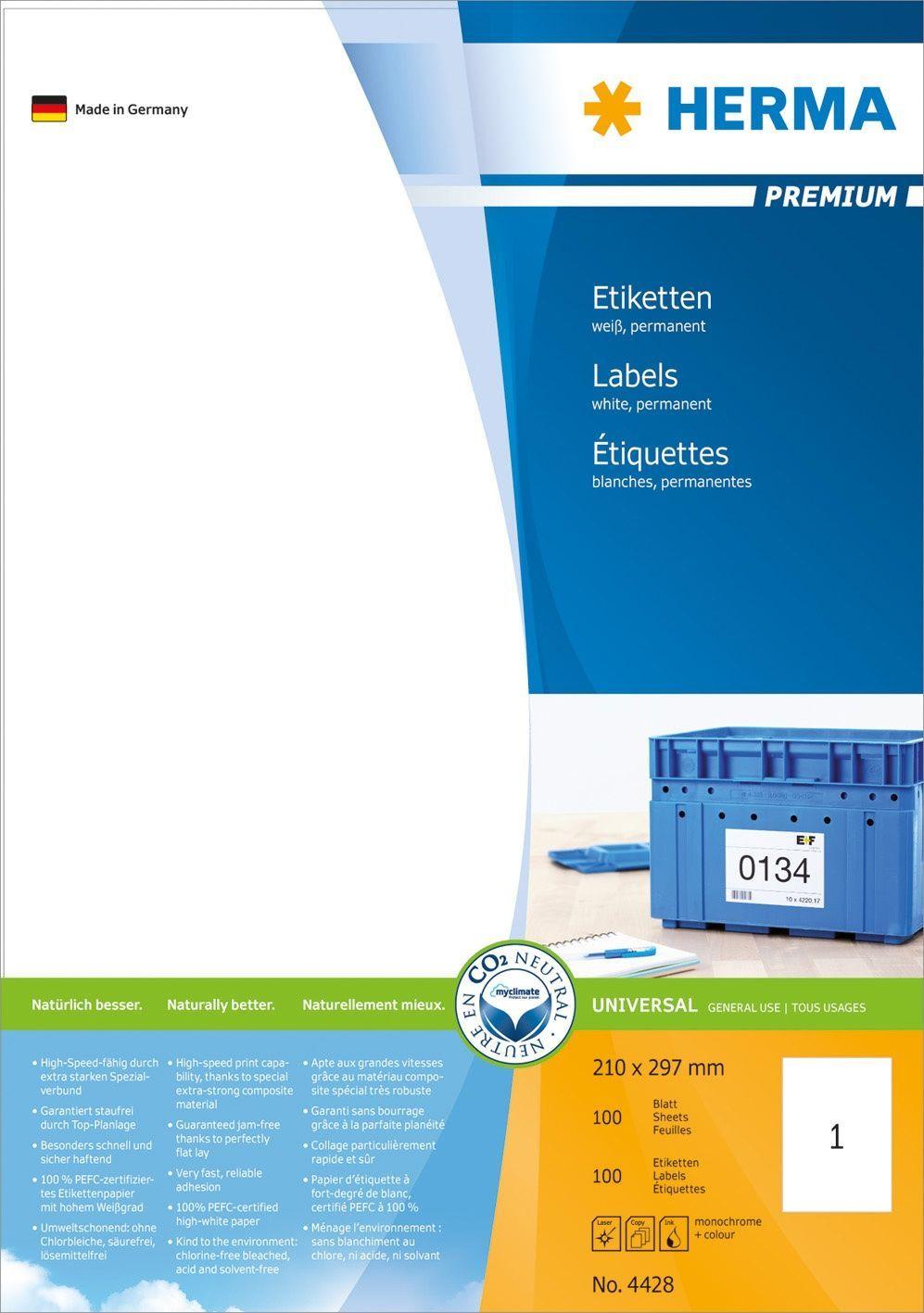 Herma Etikett premium A4 210x297mm (100) Y450101