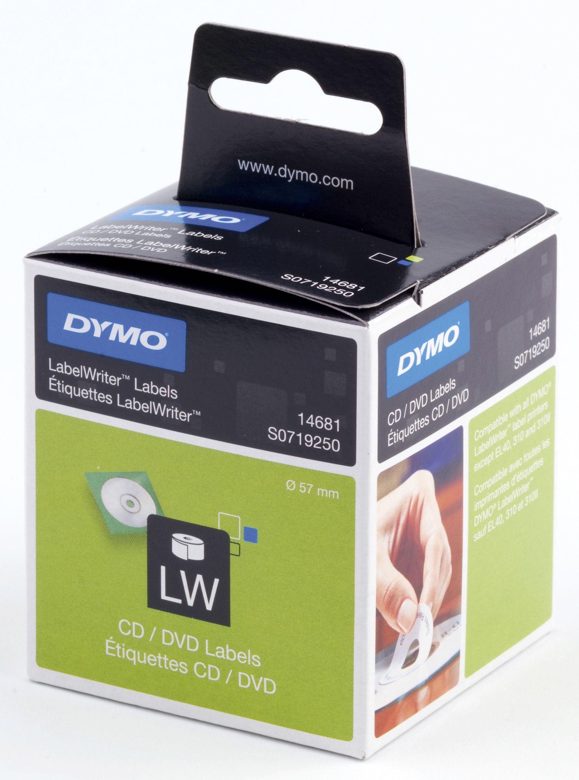 Dymo Etikett CD/DVD ø57mm (160) S0719250 (Kan sendes i brev)