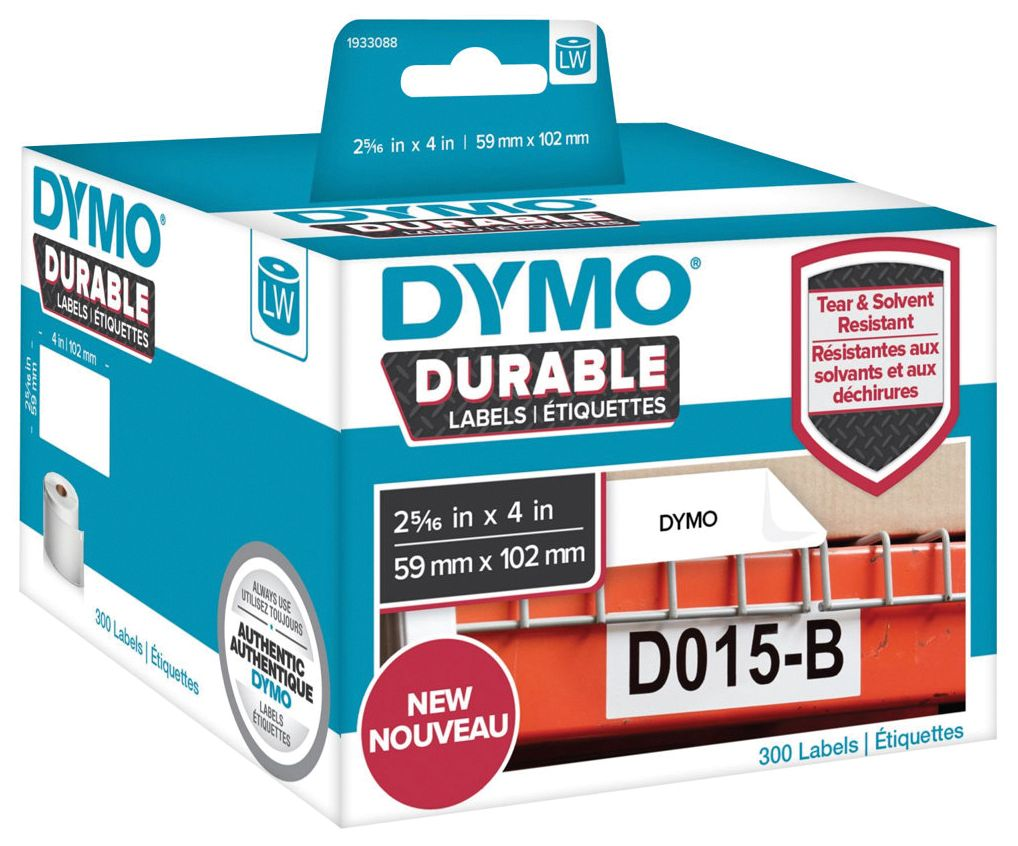 Dymo Etikett Durable 59mm x 102mm 300/FP 1933088 (Kan sendes i brev)