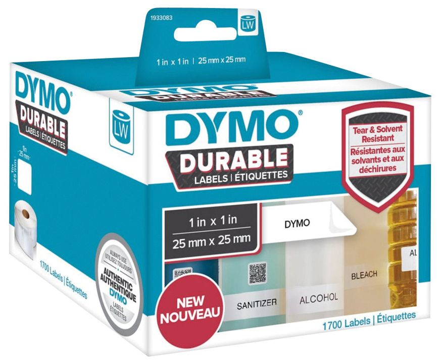 Dymo Etikett Durable 25mm x 25mm 1700/FP 1933083 (Kan sendes i brev)