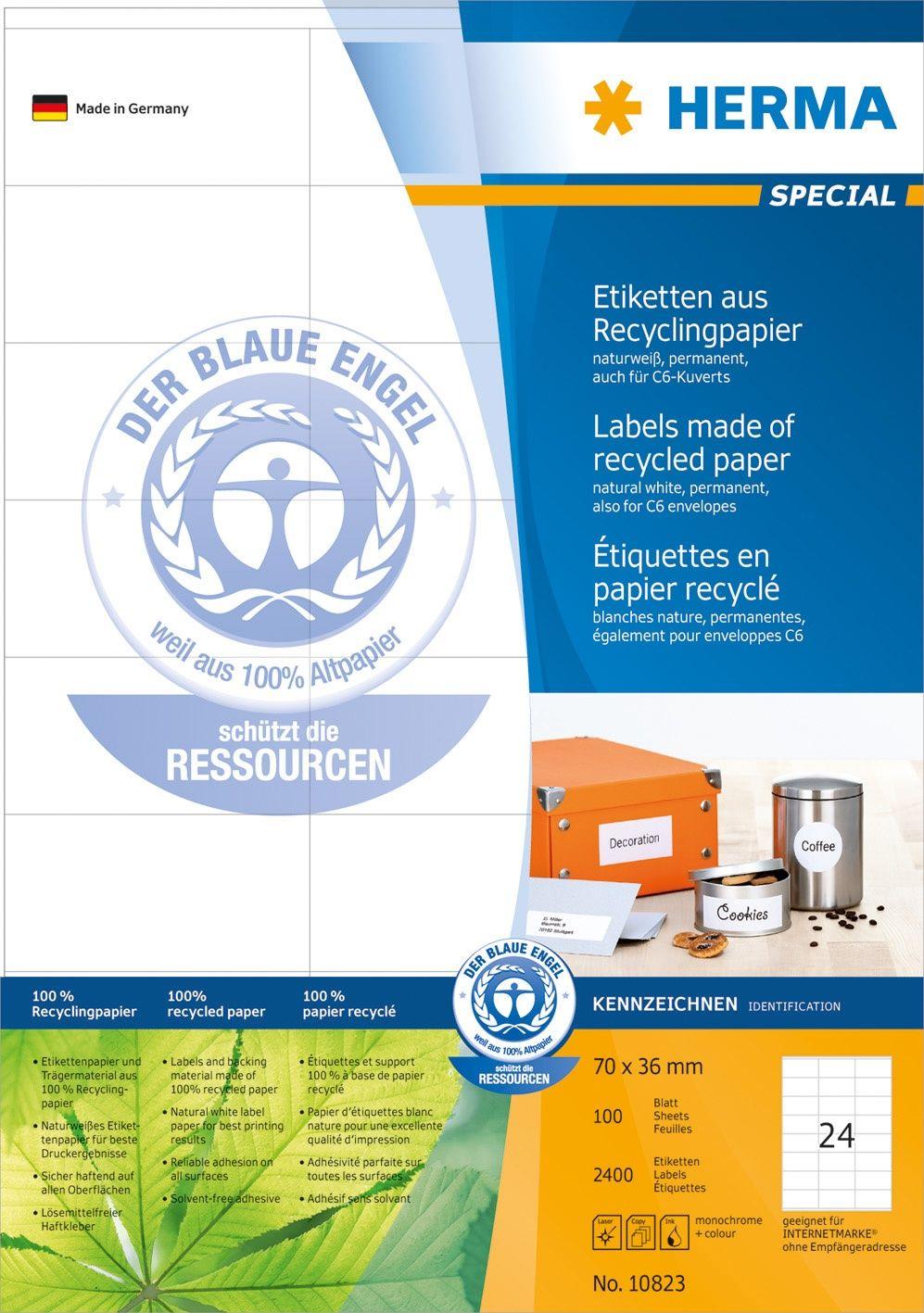 Herma Etikett resirk A4 70x36mm (2400) 10823