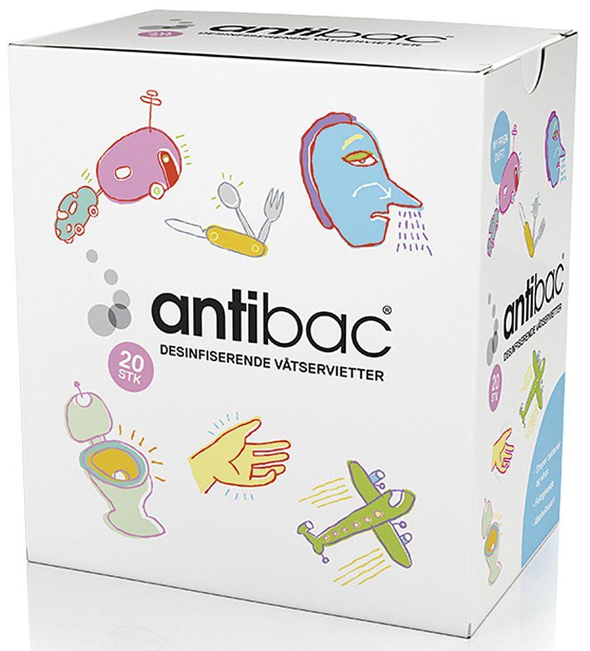 Antibac Hånddesinfeksjon våtserv (20) 601801 (Kan sendes i brev)