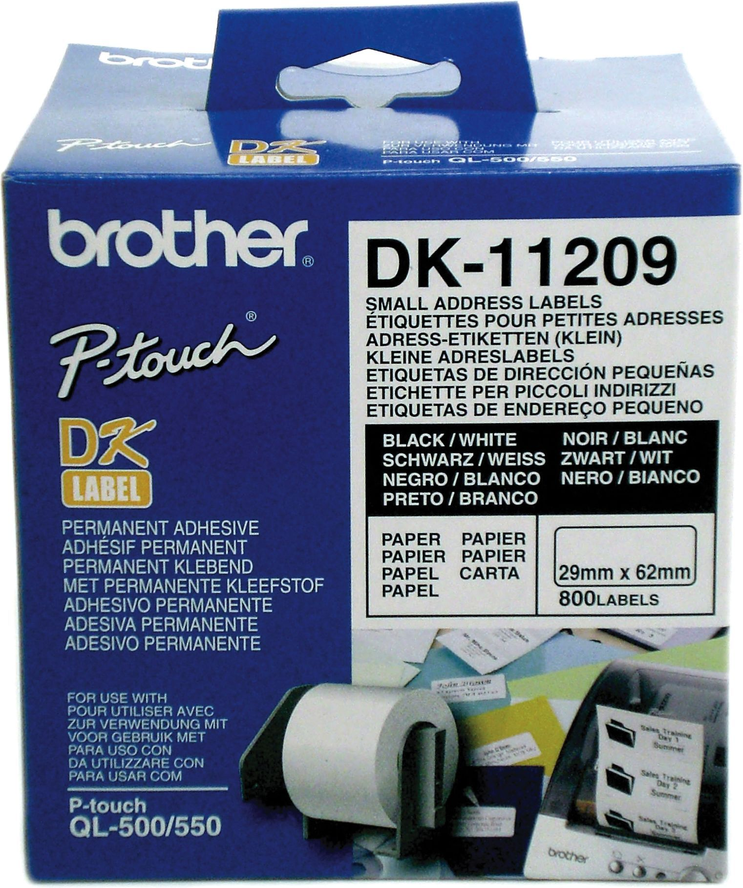 Brother Adresse Etikett 29x62mm (800stk) DK-11209