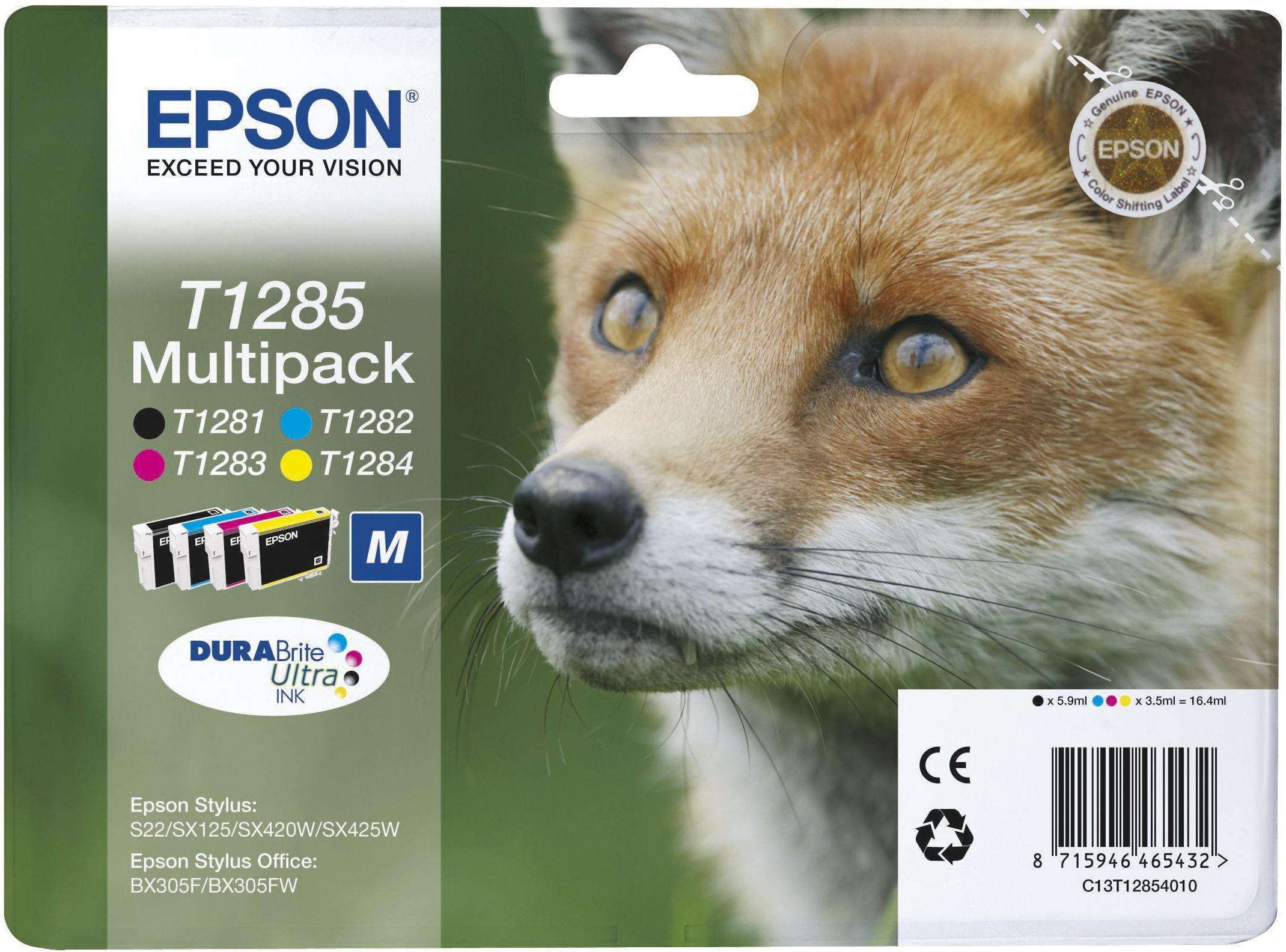 Epson Blekkpatron Pakke T1285 Sort & 3xFarge (5.9ml/3x3.5ml) C13T12854010 (Kan sendes i brev)