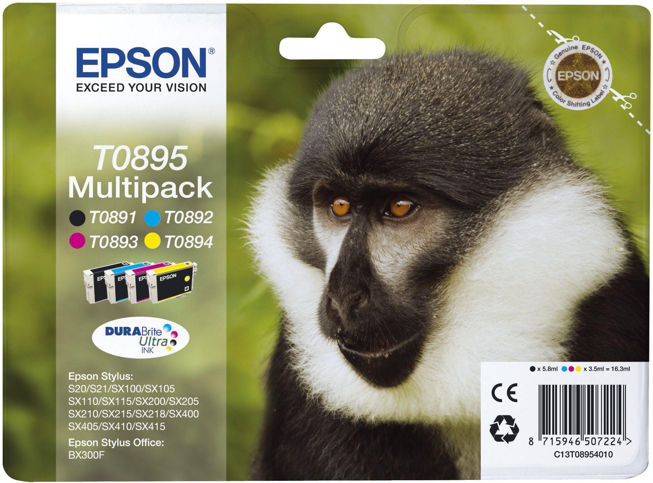Epson Blekkpatron Pakke T0895 Sort/3xFarge (5.8ml 3x3.5ml) C13T08954010 (Kan sendes i brev)