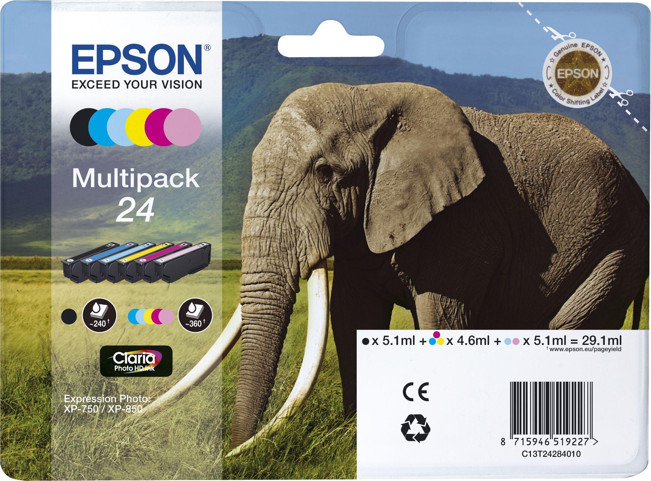 Epson Blekkpatron Pakke No.24 Sort/5xFarge (29.1ml) C13T24284010 (Kan sendes i brev)
