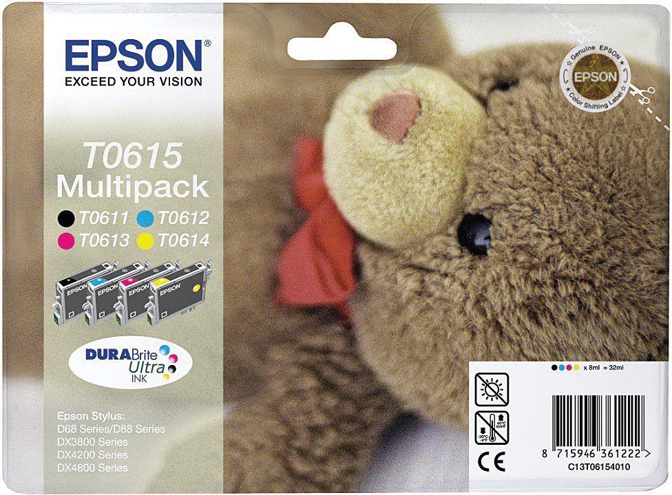Epson Blekkpatron Pakke T0615 Sort/3xFarge (4x8ml) C13T06154010 (Kan sendes i brev)